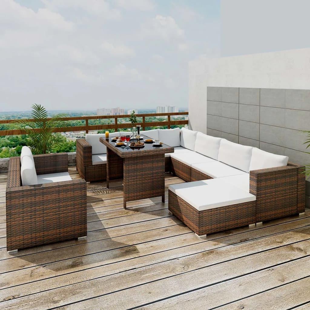 vidaXL Zahradní sedací souprava, 28 ks, hnědý polyratan