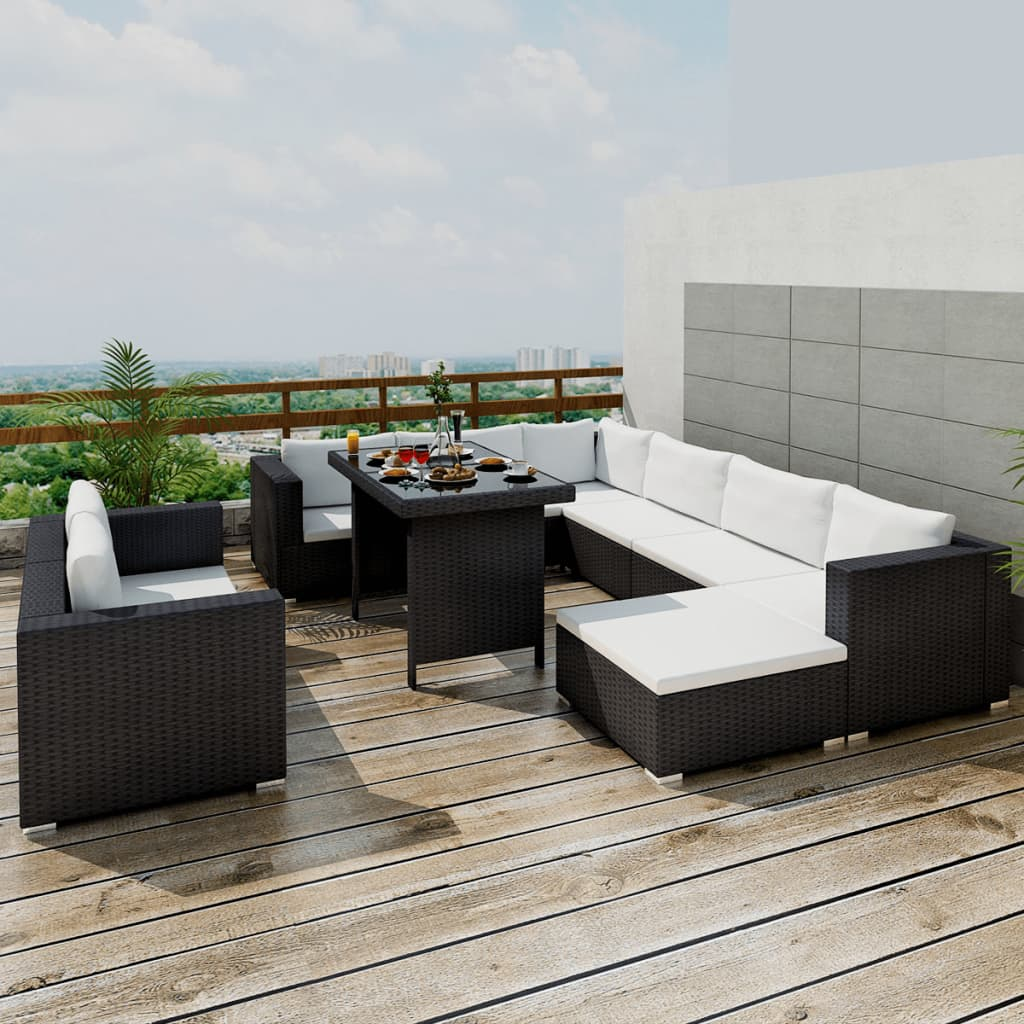 vidaXL 28-delige lounge-eetset zwart polyrattan