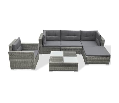 vidaXL 6 Piece Garden Lounge Set with Cushions Poly Rattan Grey