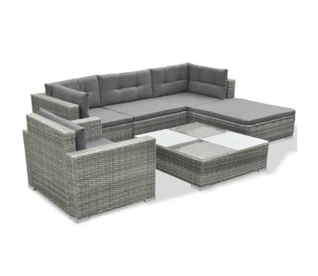 Vidaxl Garten Lounge Set 17 Tlg Poly Rattan Grau Günstig Kaufen