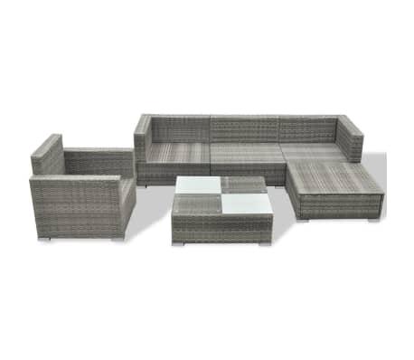 vidaXL 6-delige Loungeset met kussens poly rattan grijs[4/8]