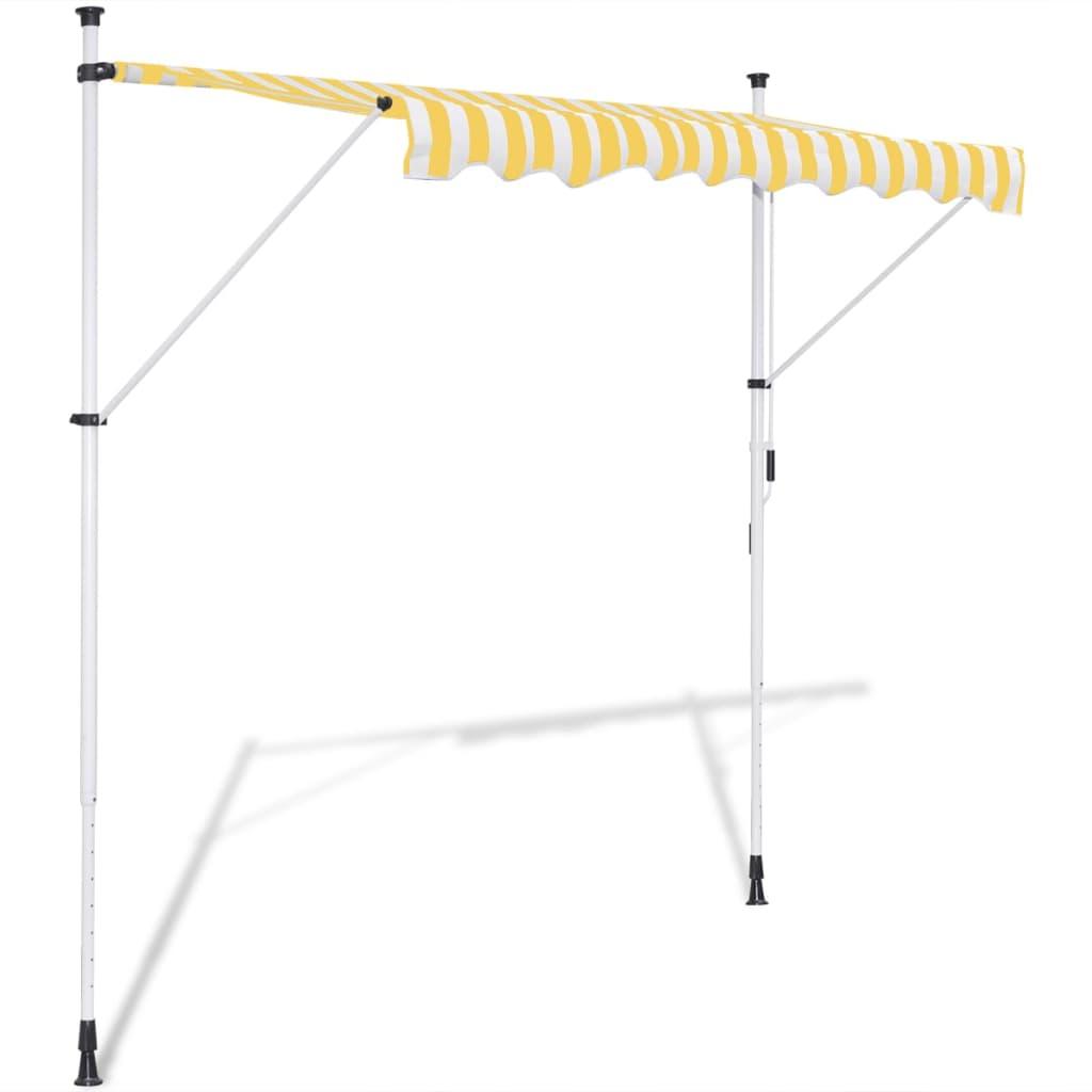 vidaXL Ručně zatahovací markýza žluto-bílá 300 cm