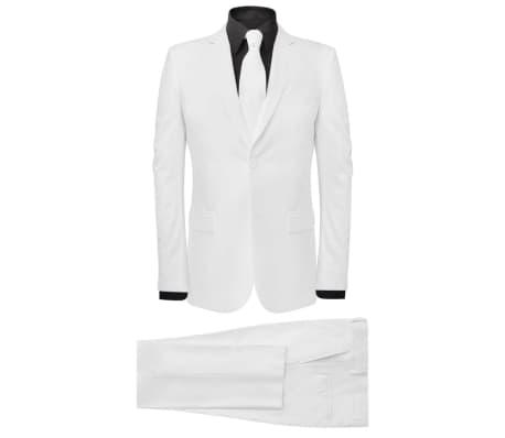 vidaXL Costum bărbătesc în două piese cu cravată, mărimea 52, alb