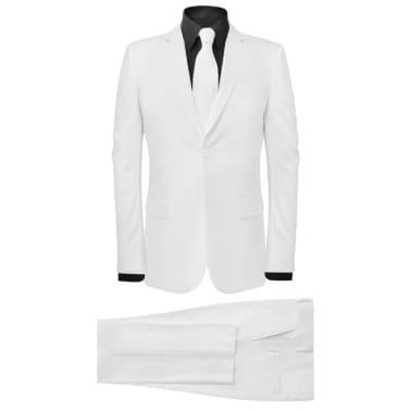 vidaXL Costum bărbătesc în două piese cu cravată, mărimea 52, alb[1/8]