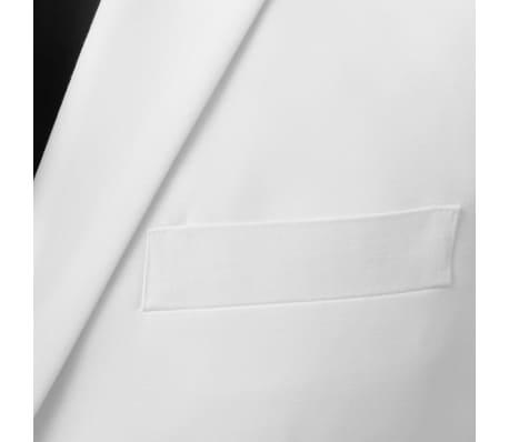 vidaXL Costum bărbătesc în două piese cu cravată, mărimea 52, alb[3/8]