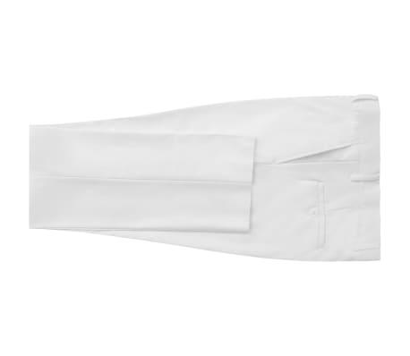 vidaXL Costum bărbătesc în două piese cu cravată, mărimea 52, alb[5/8]