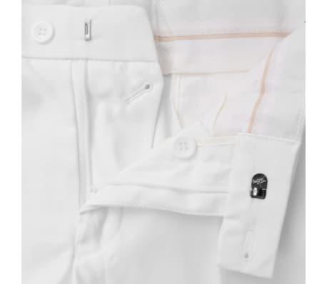 vidaXL Costum bărbătesc în două piese cu cravată, mărimea 52, alb[7/8]