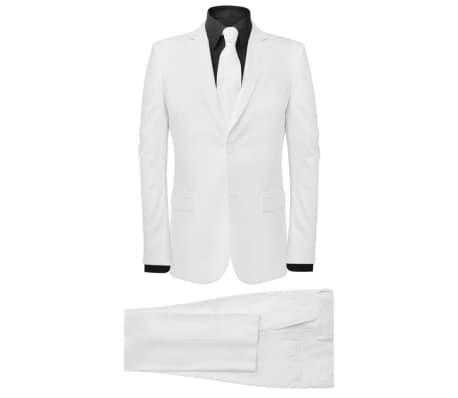 vidaXL Costum bărbătesc 2 piese cu cravată mărimea 54, Alb[1/8]