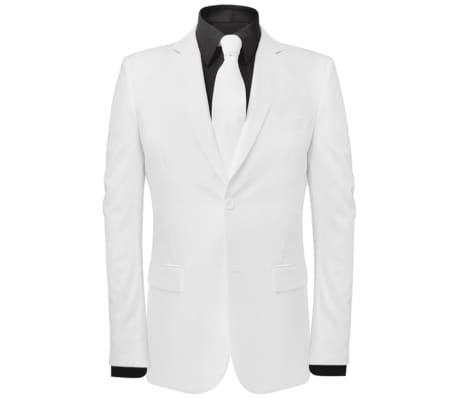 vidaXL Costum bărbătesc 2 piese cu cravată mărimea 54, Alb[2/8]