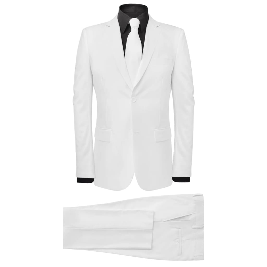 vidaXL Costum bărbătesc 2 piese cu cravată mărimea 56 alb poza 2021 vidaXL