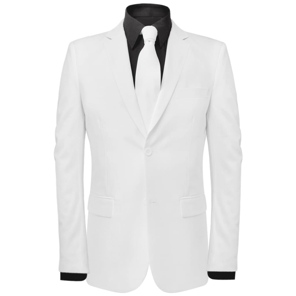 vidaXL Pánský dvoudílný oblek s kravatou, bílý, vel. 56
