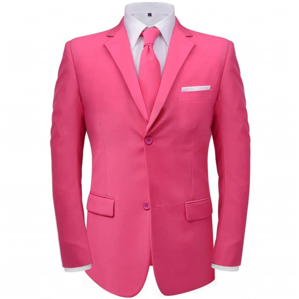 vidaXL Pánský dvoudílný oblek s kravatou, růžový, vel. 46