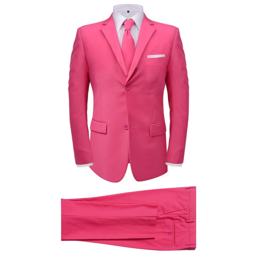 vidaXL Pánský dvoudílný oblek s kravatou, růžový, vel. 52