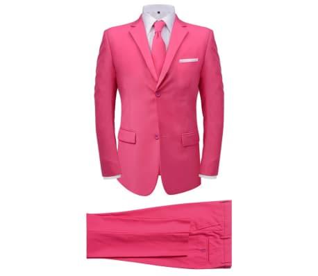 vidaXL Pánsky dvojdielny oblek s kravatou, ružový, veľkosť 52