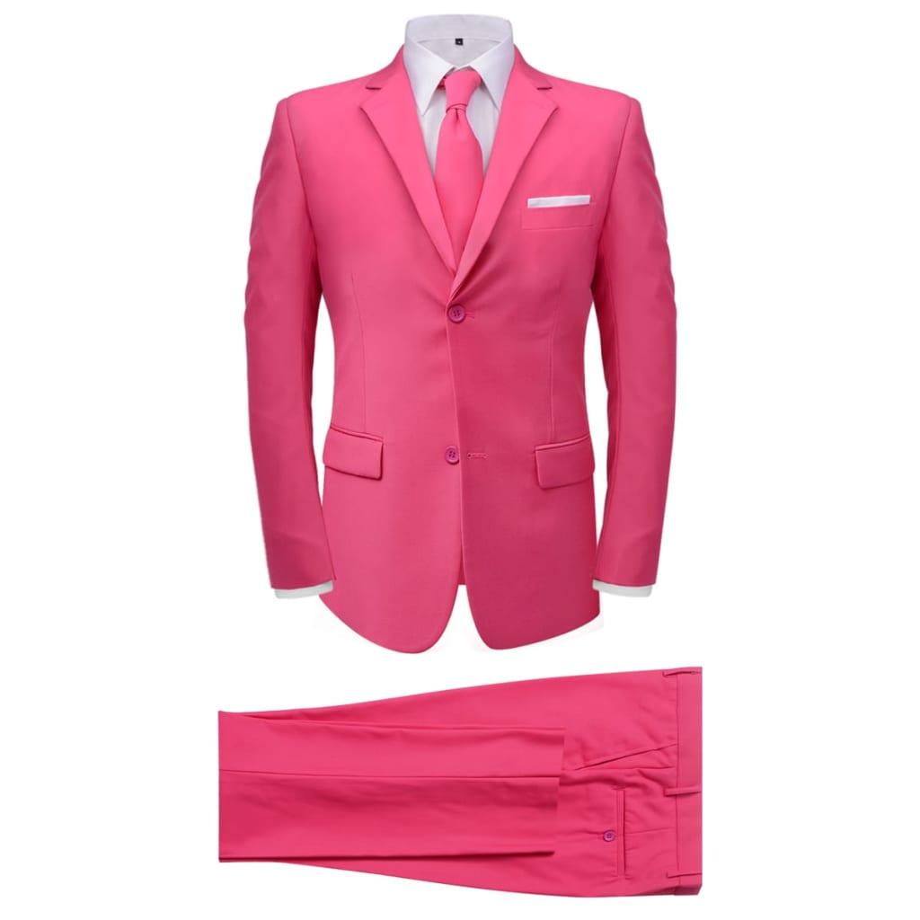 99131102 2-tlg. Herrenanzug mit Krawatte Rosa Gr. 56