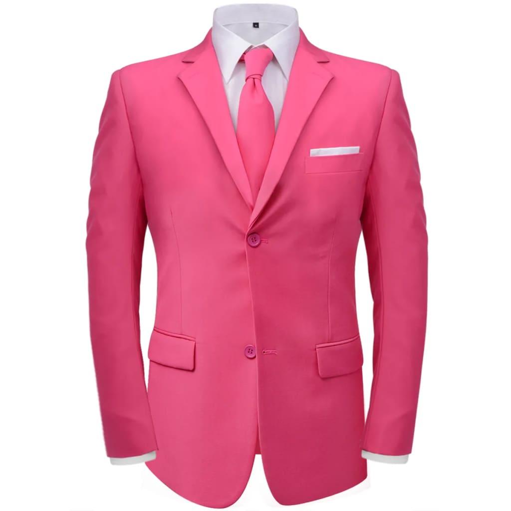 vidaXL Pánský dvoudílný oblek s kravatou, růžový, vel. 56