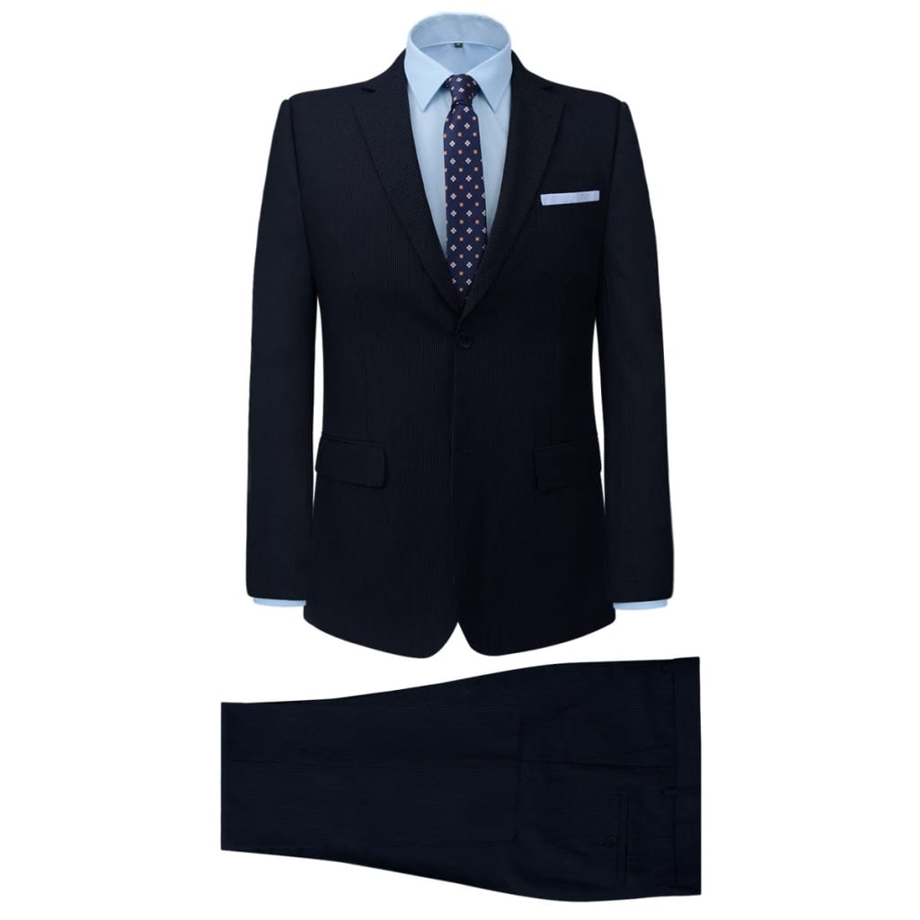 vidaXL Costum bărbătesc business, mărime 48, bleumarin striat, 2 piese imagine vidaxl.ro