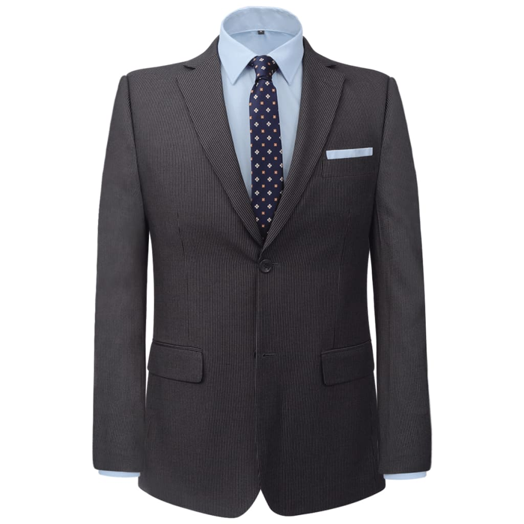 vidaXL Pánský dvoudílný business oblek šedý proužek vel. 46