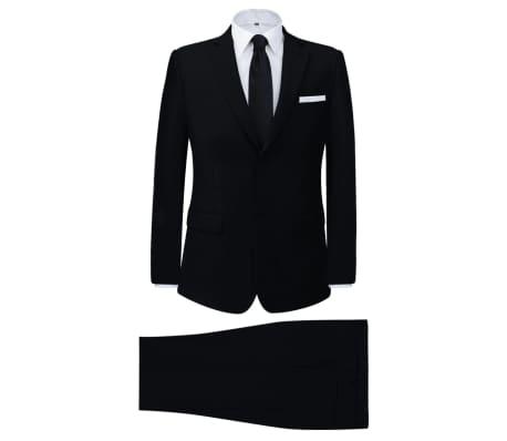 vidaXL Muško Poslovno Odijelo Dvodijelno Crno veličina 48