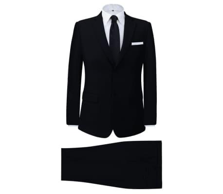 vidaXL Tvådelad kostym herrar svart strl. 52[1/8]