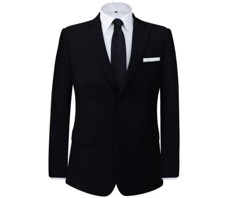 vidaXL Tvådelad kostym herrar svart strl. 52[2/8]