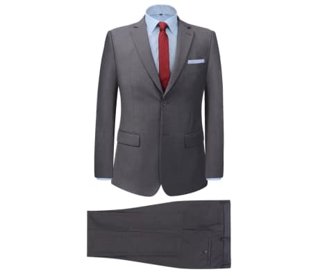 vidaXL divdaļīgs vīriešu uzvalks, 50. izmērs, pelēks