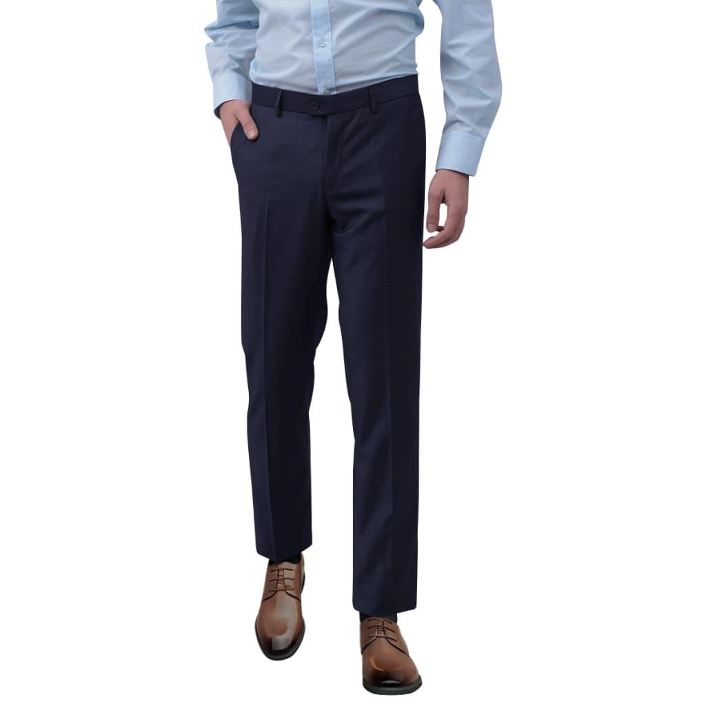 vidaXL Pantaloni bărbătești de costum, Bleumarin, Mărimea 50 poza vidaxl.ro