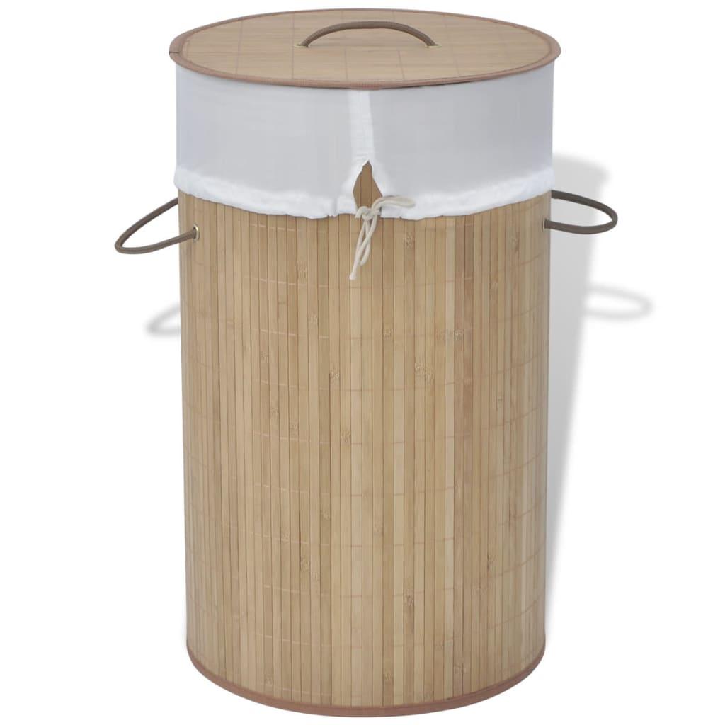 vidaXL Coș de rufe cilindric din bambus maro imagine vidaxl.ro