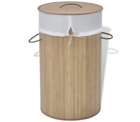 vidaXL Bamboo Laundry Bin Round Natural