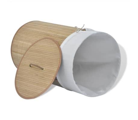 vidaXL Bambusový koš na prádlo kulatý přírodní[3/6]