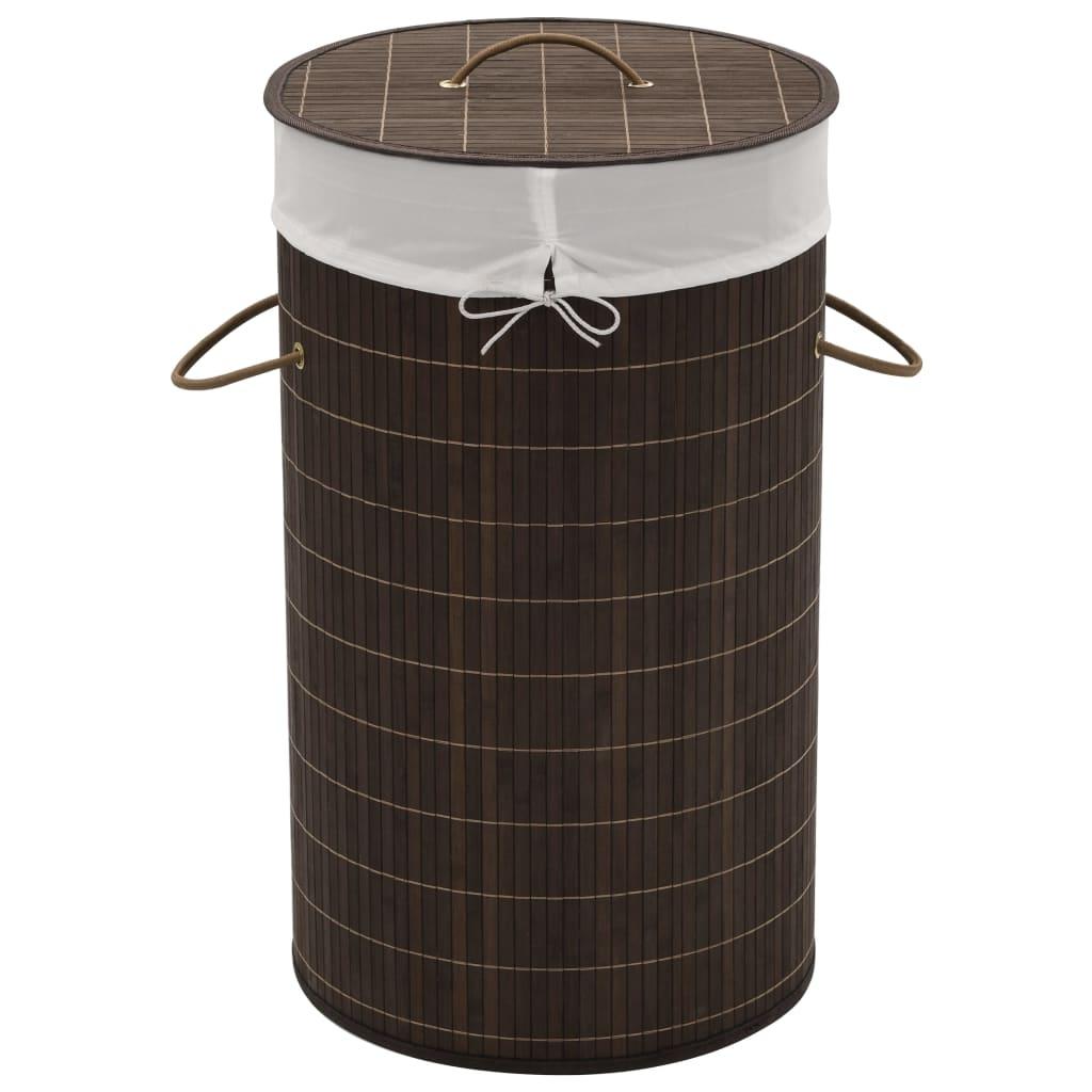 vidaXL Καλάθι Απλύτων Στρογγυλό Σκούρο Καφέ από Μπαμπού