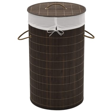 vidaXL Bamboo Laundry Bin Round Dark Brown[1/6]