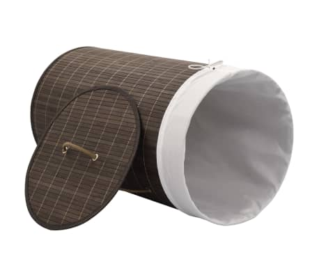 vidaXL Bamboo Laundry Bin Round Dark Brown[3/6]