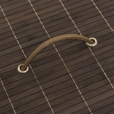 vidaXL Bamboo Laundry Bin Round Dark Brown[4/6]