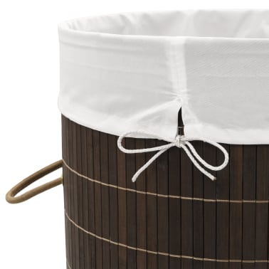 vidaXL Bamboo Laundry Bin Round Dark Brown[6/6]