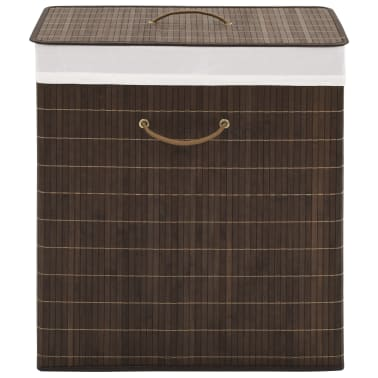 vidaXL Bamboo Laundry Bin Rectangular Dark Brown[1/6]