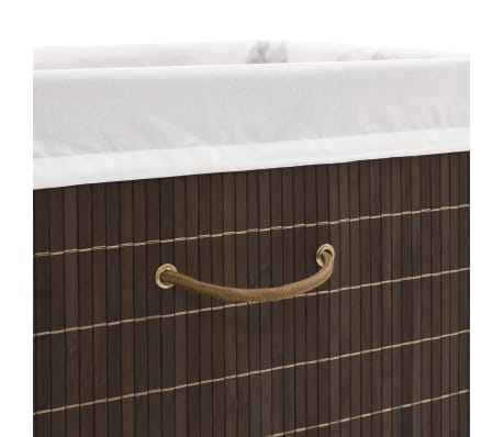 vidaXL Bamboo Laundry Bin Rectangular Dark Brown[5/6]
