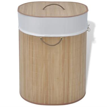 vidaXL Cesto de la ropa sucia de bambú ovalado color natural[1/5]