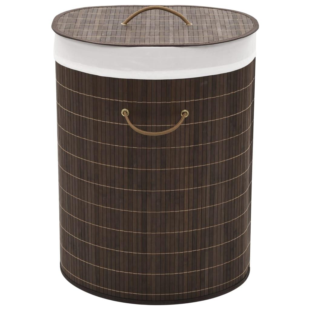 vidaXL Bambusový koš na prádlo oválný tmavě hnědý