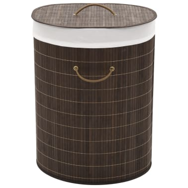 vidaXL Bamboo Laundry Bin Oval Dark Brown[1/6]