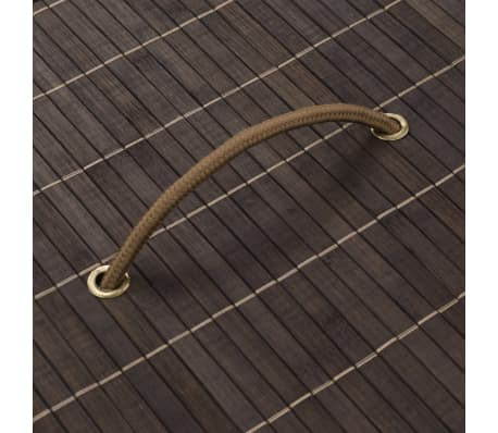 vidaXL Bamboo Laundry Bin Oval Dark Brown[4/6]
