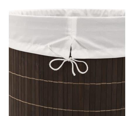 vidaXL Bamboo Laundry Bin Oval Dark Brown[6/6]
