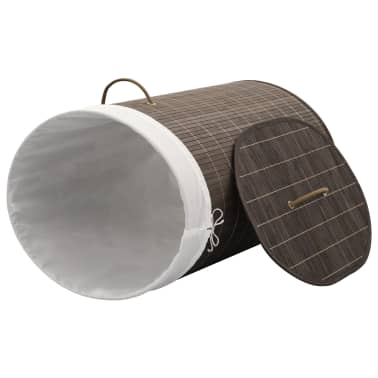 vidaXL Bamboo Laundry Bin Oval Dark Brown[3/6]
