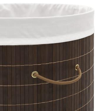 vidaXL Bamboo Laundry Bin Oval Dark Brown[5/6]