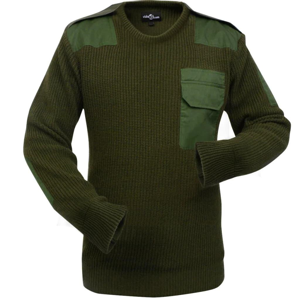 vidaXL Pánský pracovní svetr vojenská zelená vel. M