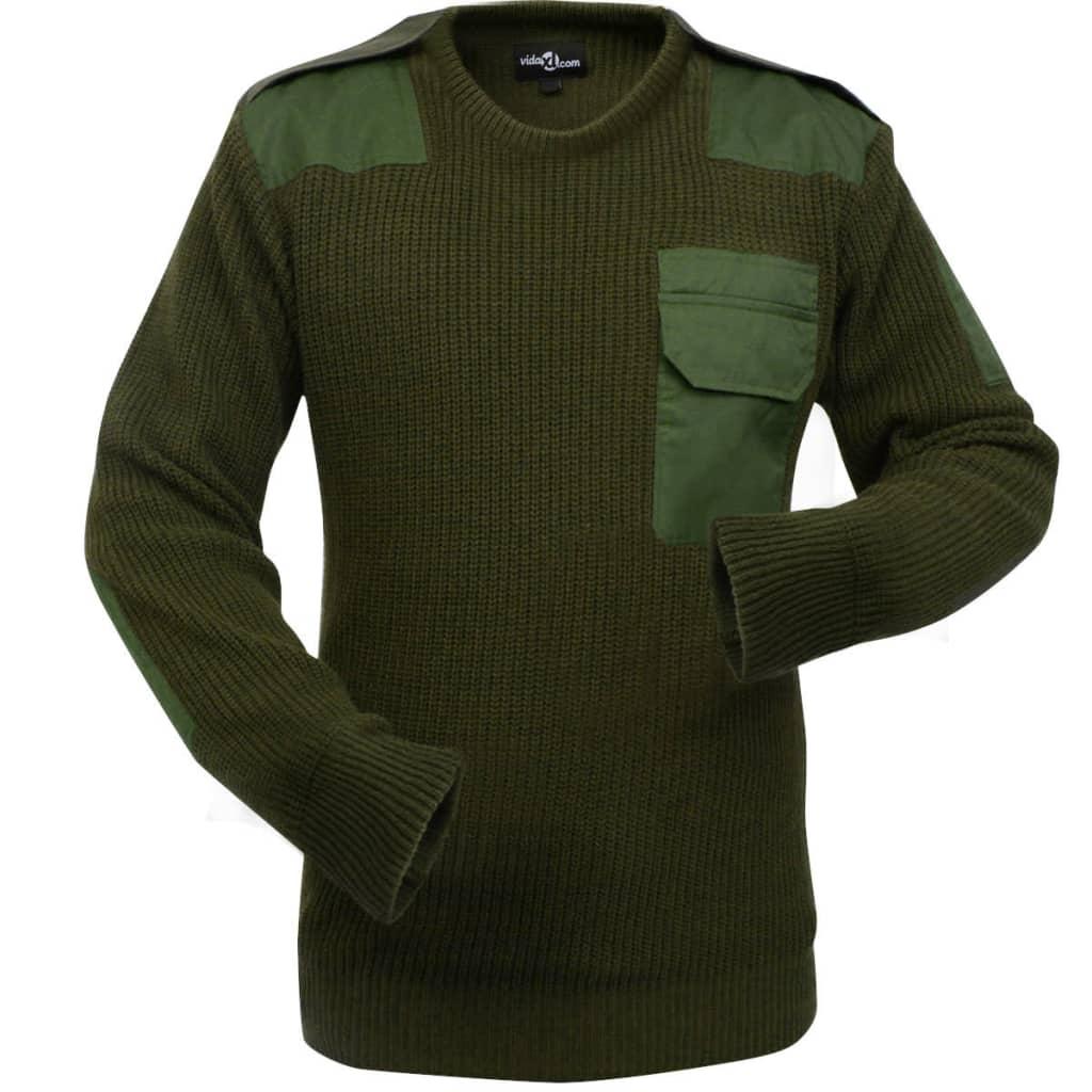 vidaXL Pulover de lucru pentru bărbați, verde kaki, mărime XXL imagine vidaxl.ro
