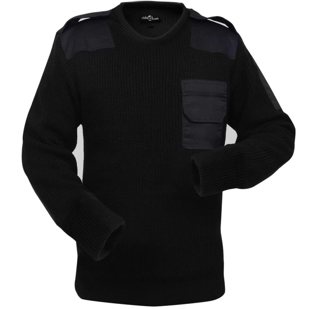 vidaXL Pulover de lucru pentru bărbați, negru, mărime XL imagine vidaxl.ro