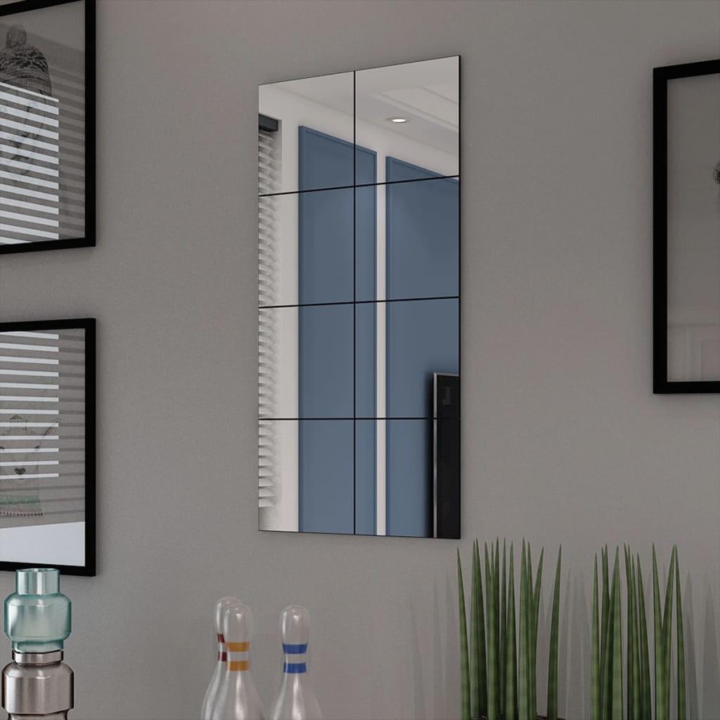 Zrcadlové dlaždice bez rámu sklo 8 ks 20,5 cm