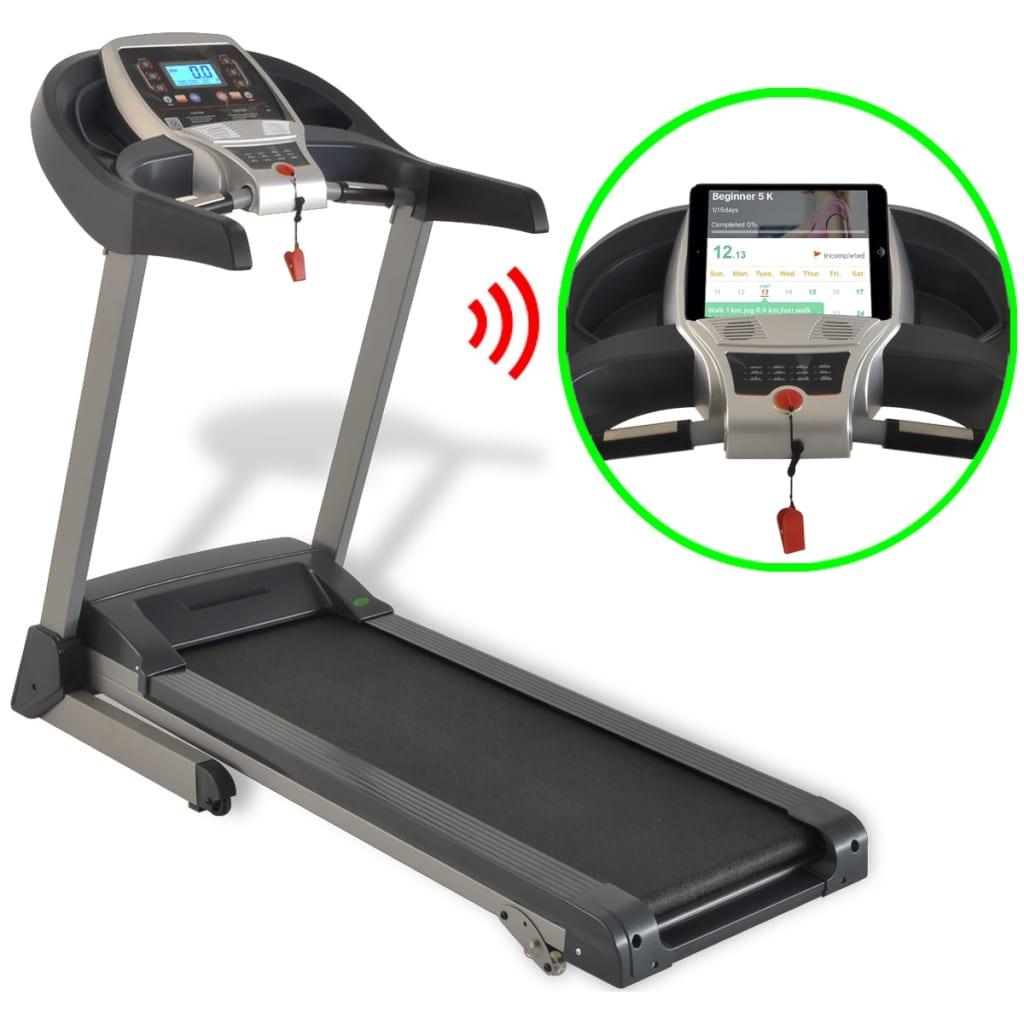 vidaXL Bandă alergare motorizată, 1,75 HP, bluetooth, app smartphone poza vidaxl.ro