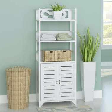 "vidaXL Bathroom Cabinet Albuquerque Wood White 18""x9.4""x46.3""[1/6]"